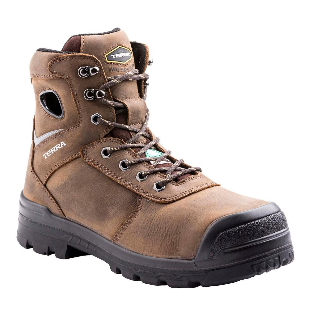 db3bf996f34 Terra Marshal Men's Size 14 Brown Leather Composite Toe Work Boot