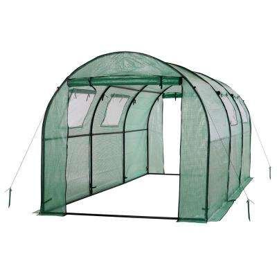 15 ft. x 6 ft. x 6 ft. 2-Door Walk-In Tunnel Greenhouse with Ventilation Windows and Steel Frame