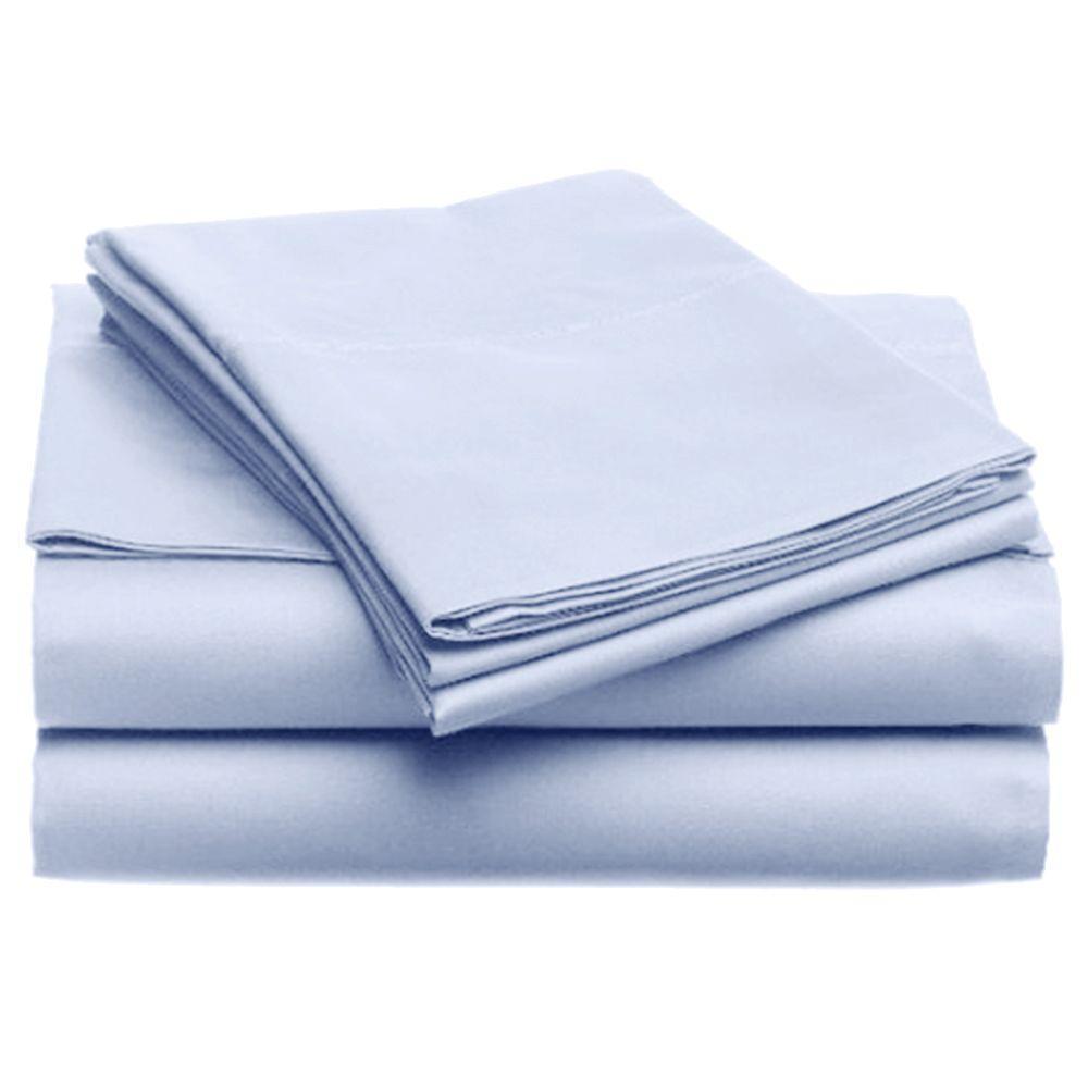 Jill Morgan Fashion Solid Light Blue Microfiber King Sheet Set (4-Piece)