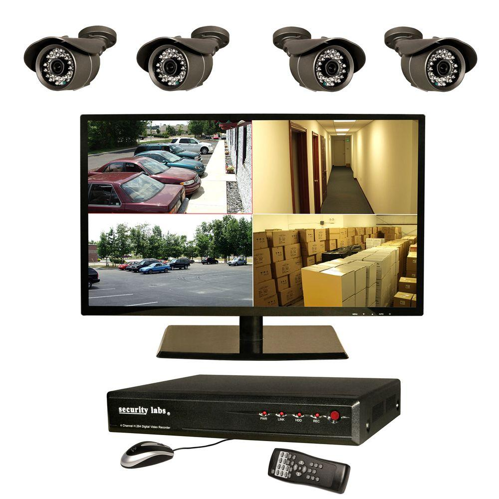 Security Labs 4 CH 1 TB Surveillance System with (4) 600TVL Indoor/Outdoor Cameras and 18.5 in. LED Monitor-DISCONTINUED