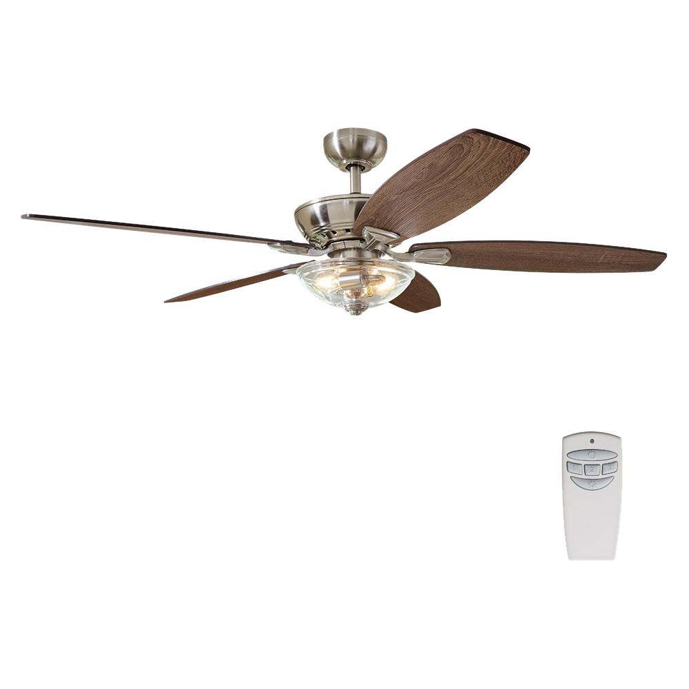 Home Decorators Collection Connor 54 In Led Brushed Nickel Dual Mount Ceiling Fan With Light Kit And Remote Control 51847 The Home Depot