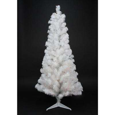 4 ft. x 24 in. Slim White Tinsel Artificial Christmas Tree Unlit