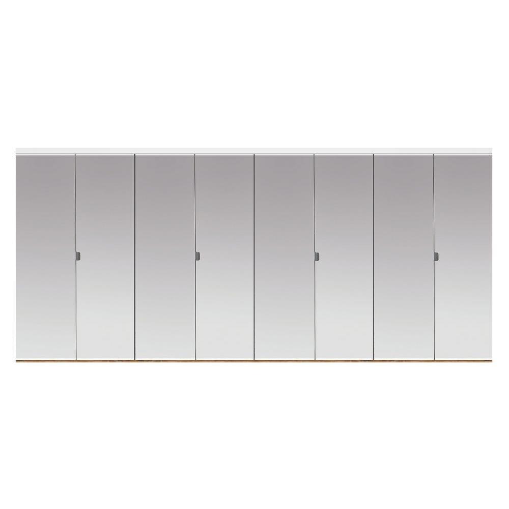 Impact Plus 144 in. x 80 in. Polished Edge Mirror Solid Core MDF Full-Lite Interior Closet Wood Bi-Fold Door with White Trim