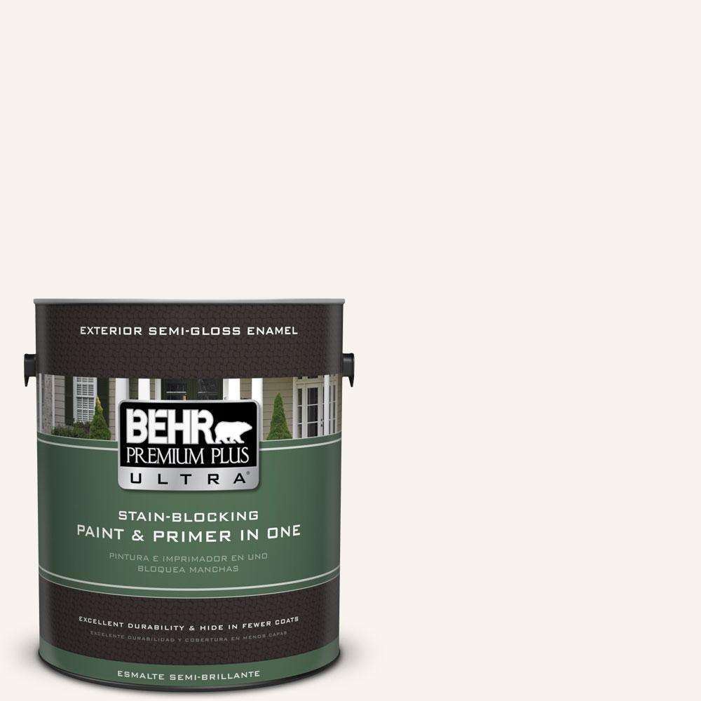 BEHR Premium Plus Ultra 1-gal. #W-D-700 Powdered Snow Semi-Gloss Enamel Exterior Paint