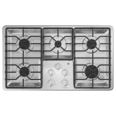 36 in. Built-In Gas Cooktop in Stainless Steel with 5 Burners including Power Boil Burners