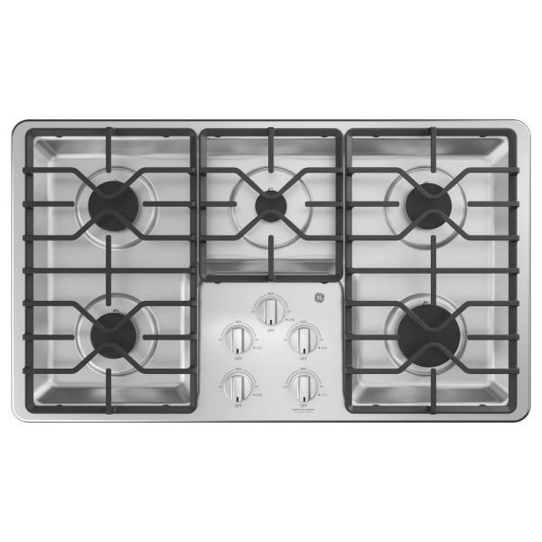 GE 36 in. Built-In Gas Cooktop in Stainless Steel with 5 Burners including Power Boil Burners
