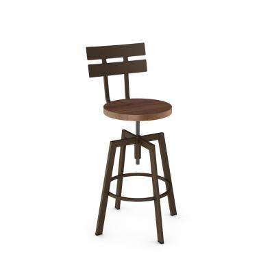 Rawdon Hammered Medium Brown Metal Medium Brown Wood Adjustable Stool