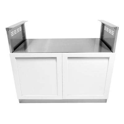 Stainless Steel Built-In BBQ Grill 40x35x23.5 in. Outdoor Kitchen Cabinet with Powder Coated Doors in White