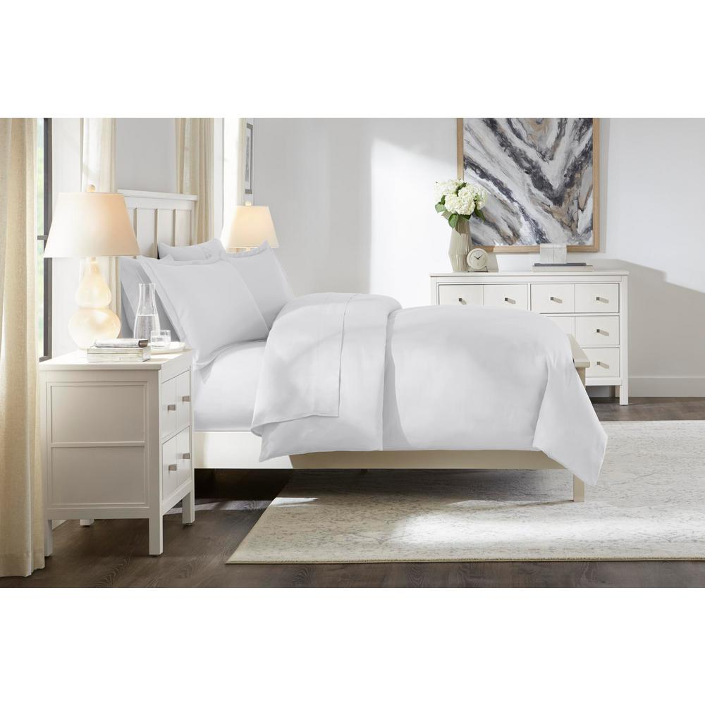 Home Decorators Collection 300 Thread Count Wrinkle Resistant USA Grown Cotton Sateen 3-Piece Full/Queen Duvet Cover Set in White