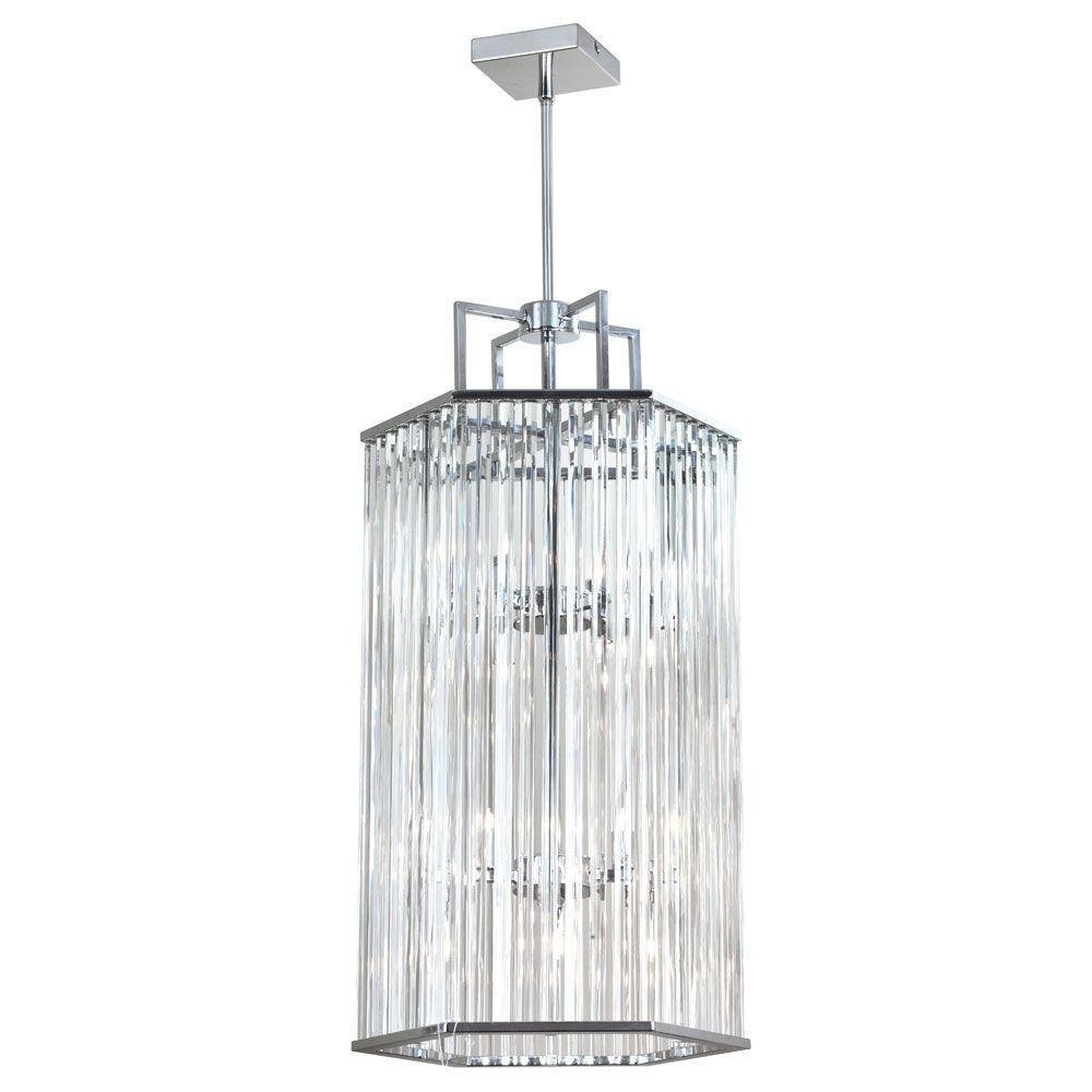 Aruba 8-Light Polished Chrome Crystal Foyer Pendant