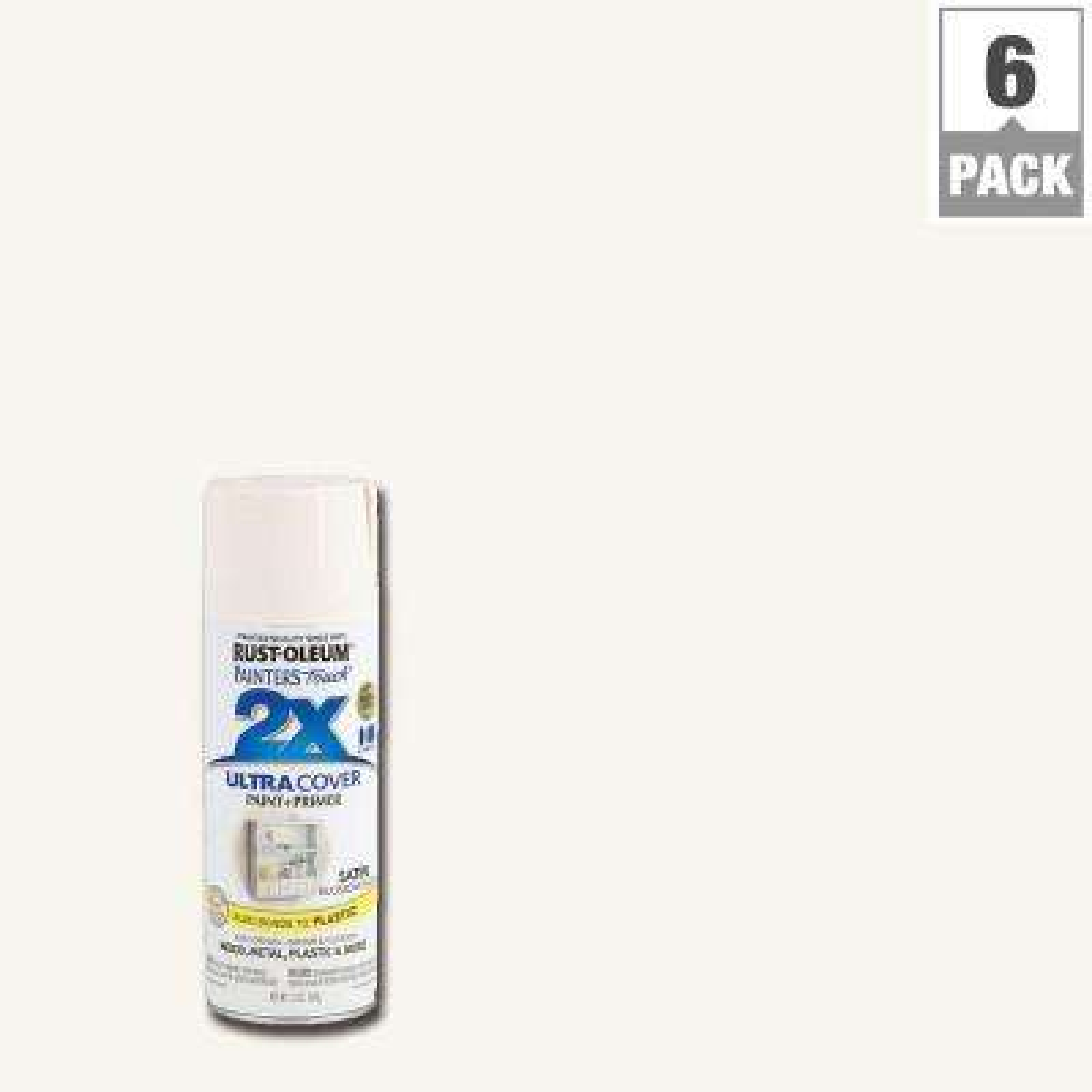 12 oz. Blossom White Satin General Purpose Spray Paint (6-Pack)
