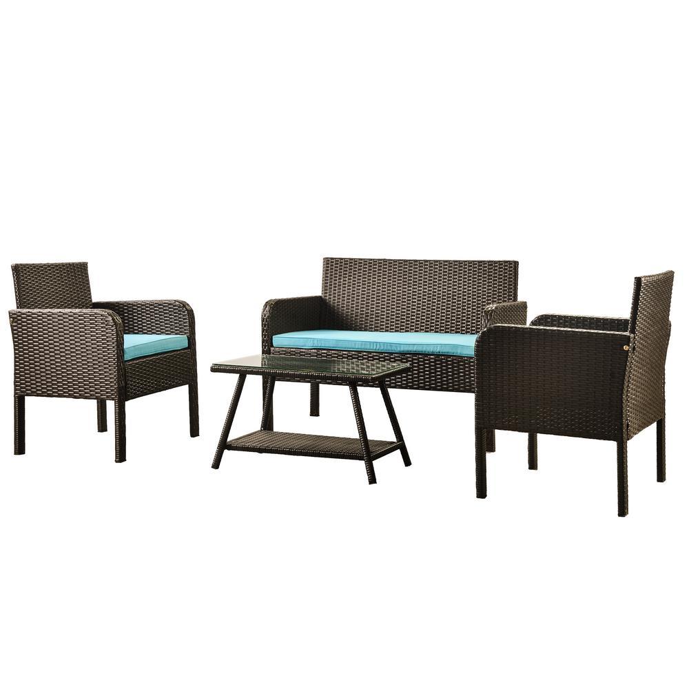 Morgan 4-Piece Wicker Outdoor Sofa Set with Blue Cushions