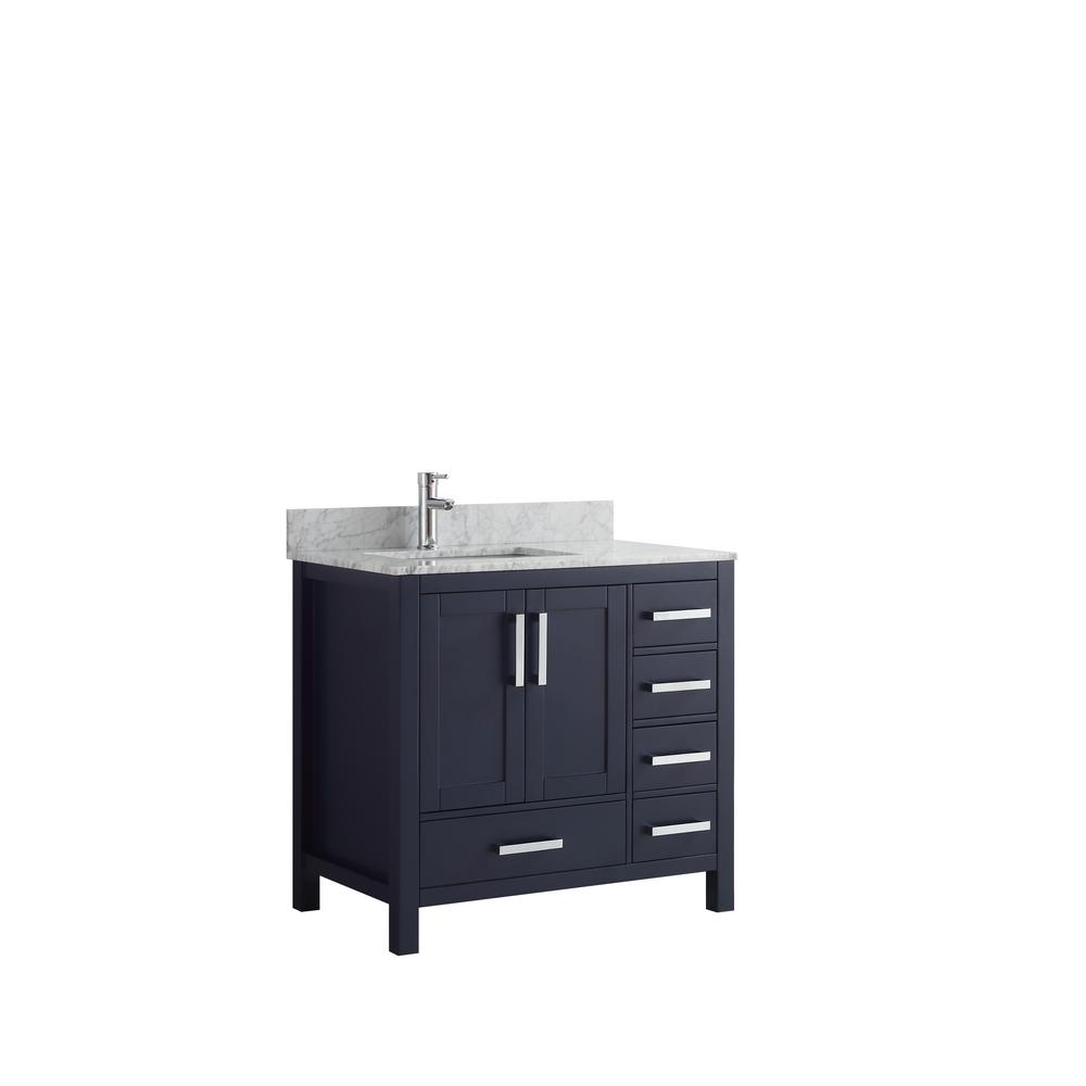 Lexora Jacques 36 in. Navy Single Vanity Top Blue Right White Carrera Marble White Square Sink and No Mirror Right