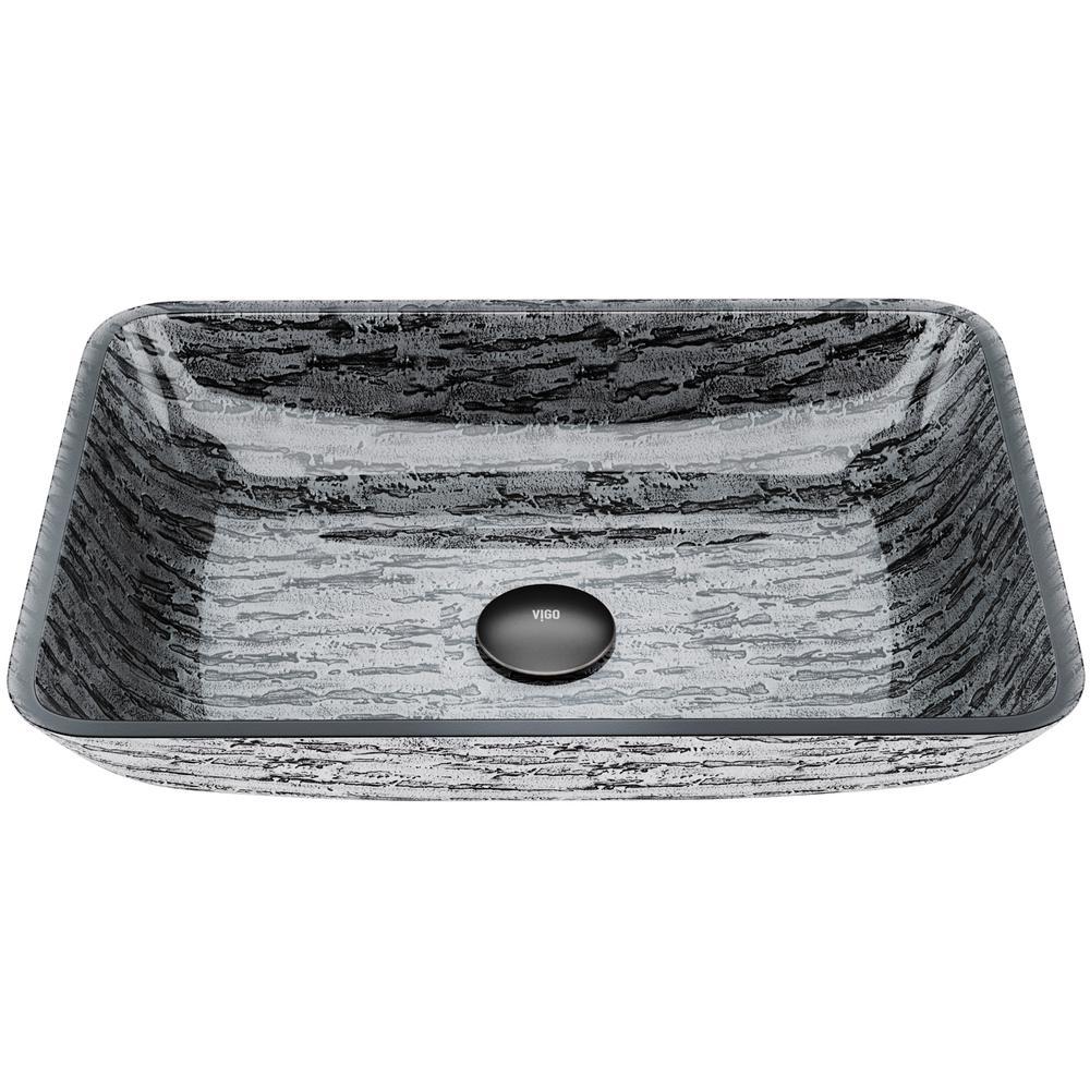 Vigo Titanium Handmade Countertop Glass Rectangle Vessel Bathroom Sink In Slate Grey