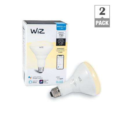 72W Equivalent BR30 Dimmable White Wi-Fi Connected Smart LED Light Bulb, 2700K (2-Pack)