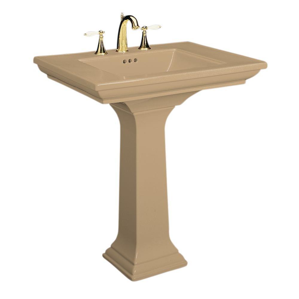 KOHLER Memoirs Ceramic Pedestal Combo Bathroom Sink in Mexican Sand with Overflow Drain
