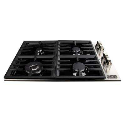 30 in. Drop-in Gas Cooktop with 4-Burners and Black Porcelain Top