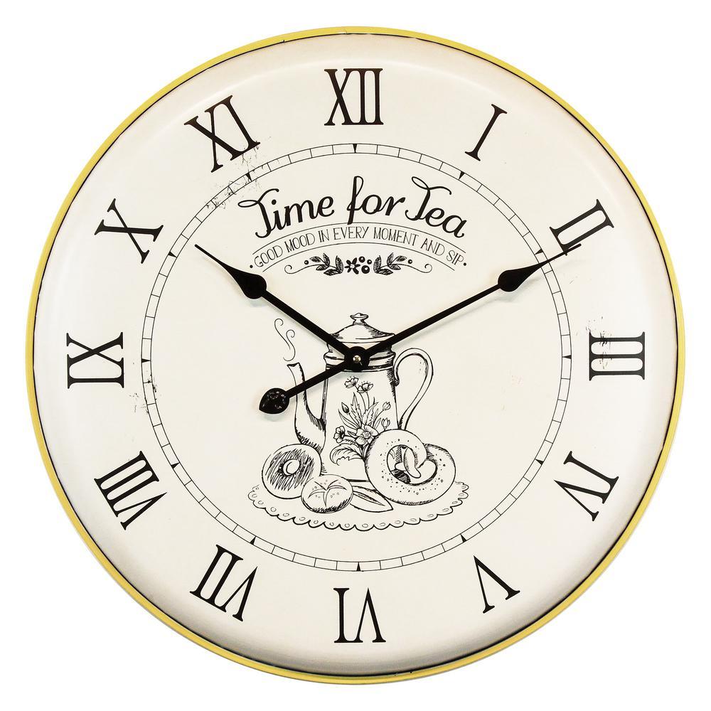Time For Tea Yellow Analog Wall Clock