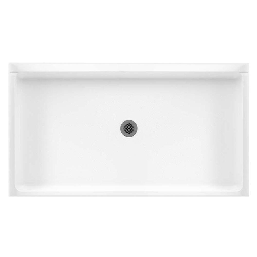 32 in. x 60 in. Solid Surface Single Threshold Center Drain
