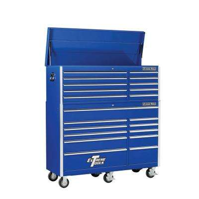 EX Standard Series 56 in. 10-Drawer Top Chest and 11-Drawer Roller Cabinet Combo, Blue
