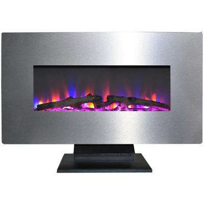 36 in. Metallic Electric Fireplace in Stainless Steel with Multi-Color Log Display
