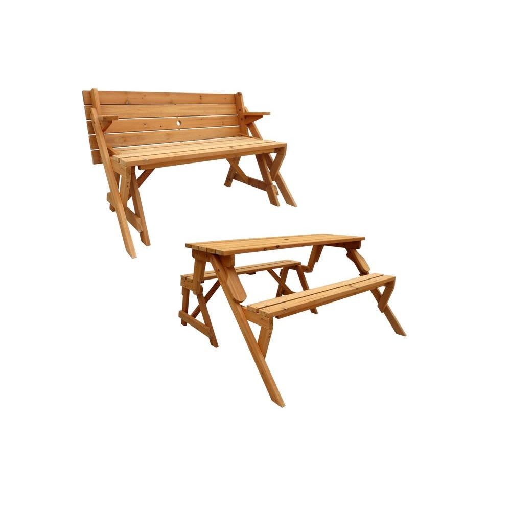 Leisure Season 55 In X 58 In X 30 In Cedar Folding Picnic Patio Table And Bench Fptb7104