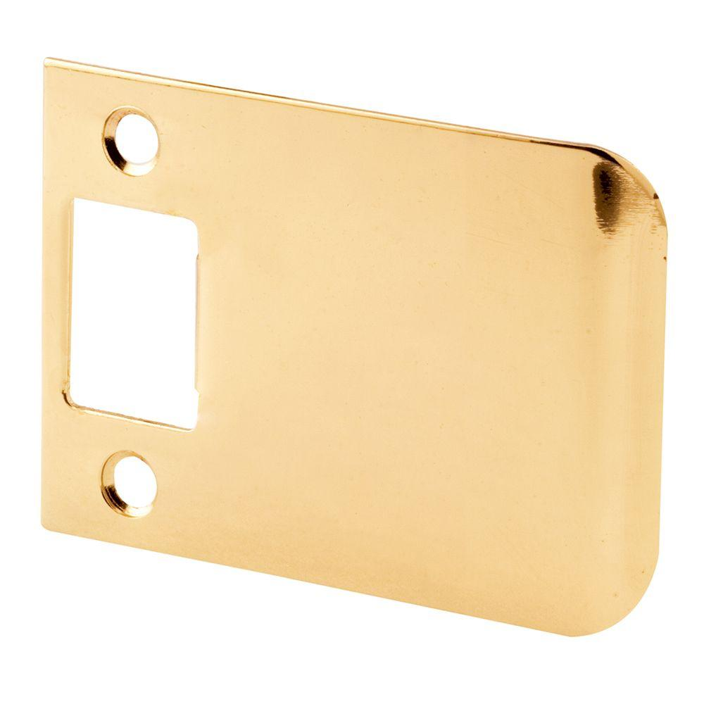 Prime-Line 3 in. Brass Plated Extended Lip Door Strike Plate