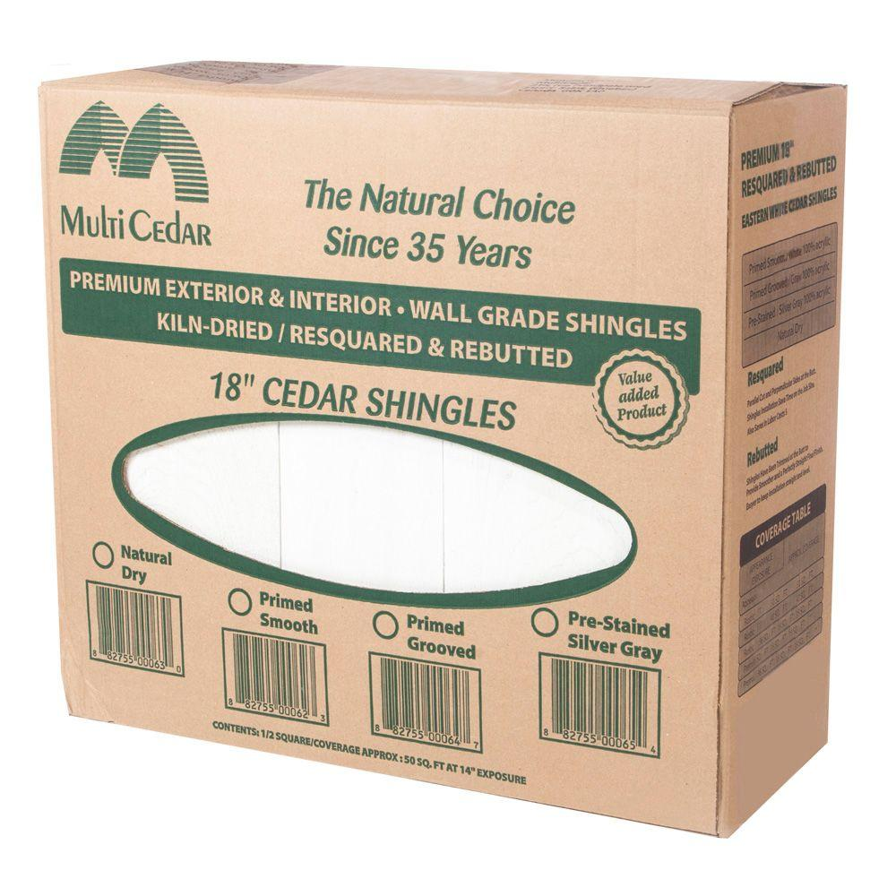 Unbranded 18 In Western Red Cedar Kiln Dried Primed Smooth Shingles 234515 The Home Depot