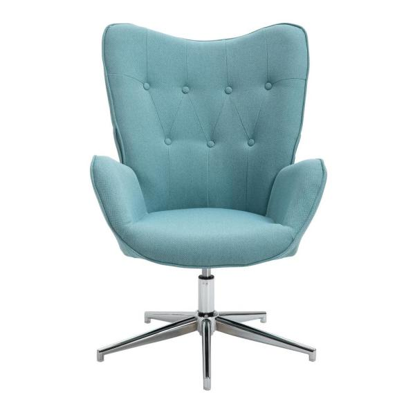Wingback Light Blue Accent Chair Armchair Leisure Chair Fabric Upholstery Height Adjustable