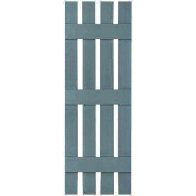 16-1/4 in. x 95 in. Lifetime Vinyl Custom Four Board Spaced Board and Batten Shutters Pair Wedgewood Blue