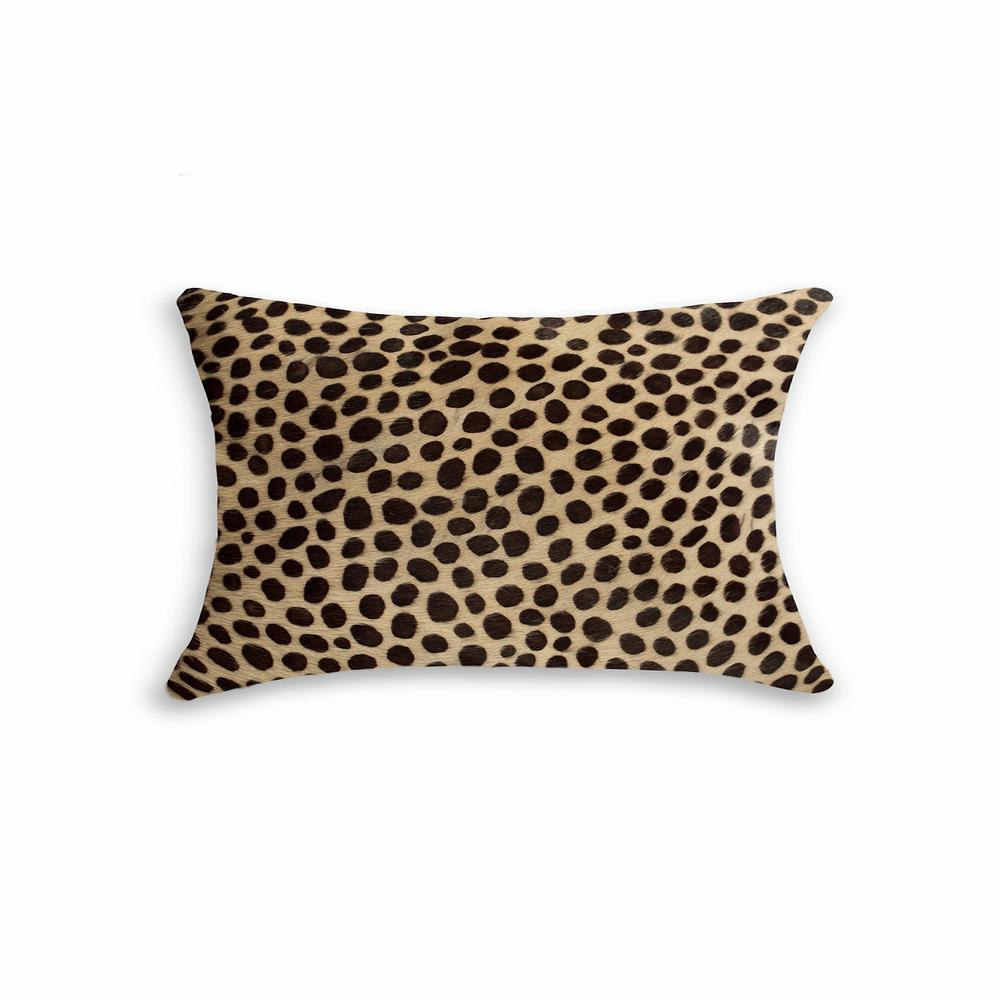 Torino Cheetah 12 in. x 20 in. Cowhide Pillow
