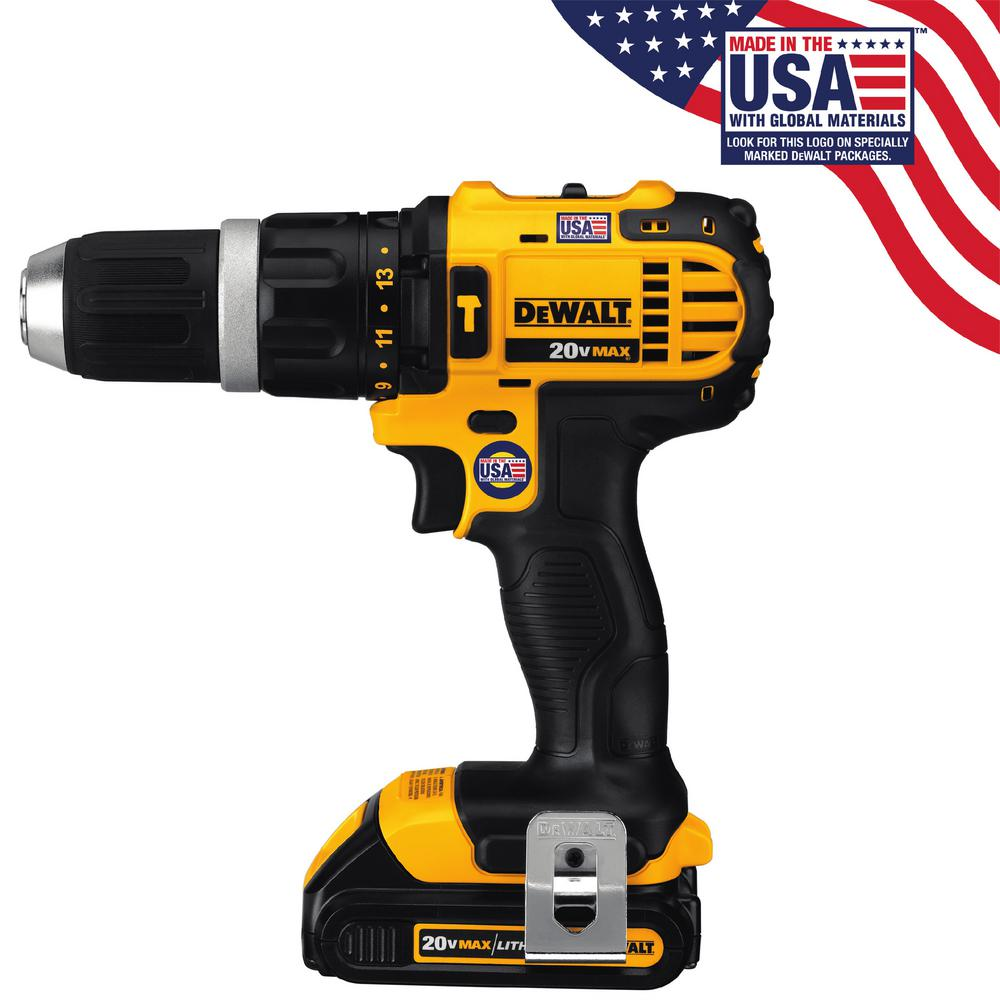 DEWALT 20-Volt MAX Lithium-Ion Cordless Compact Hammer Drill/Driver Kit with (2) Batteries 1.5Ah,  Charger and Contractor Bag