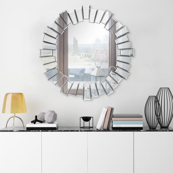 Empire Art Direct Traverse Modern Round Beveled Wall Mirror Mom 30812 3434 The Home Depot