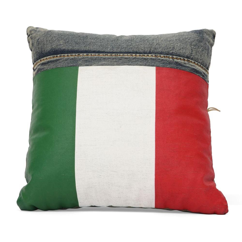ZUO Cowboy Blue Denim with Italy Flag Pillow