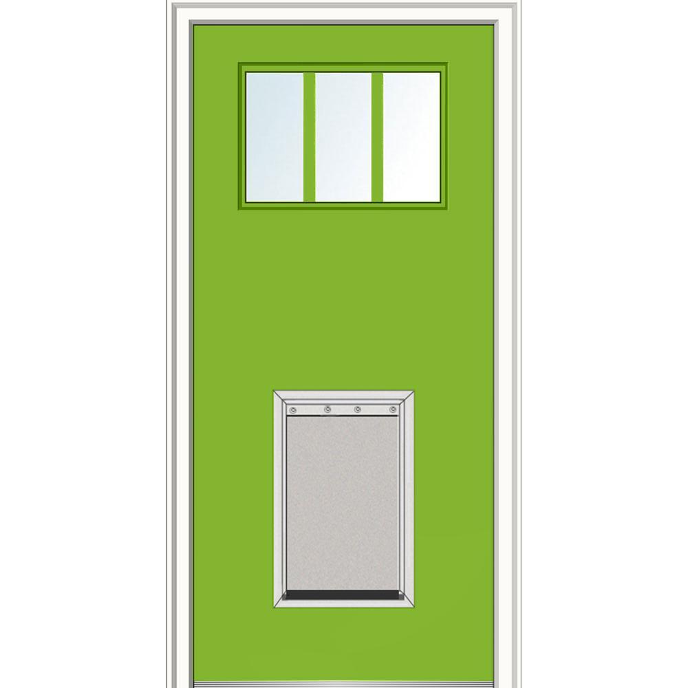 32 in. x 80 in. Classic Left-Hand 3-Lite Clear Painted Fiberglass Smooth Prehung Front Door with Extra Large Pet Door