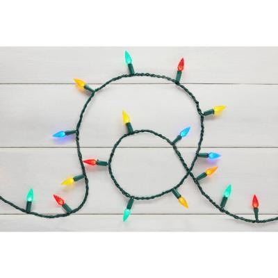 67 ft. 200-Light LED Multi-Color Faceted C6 Super Bright String Light