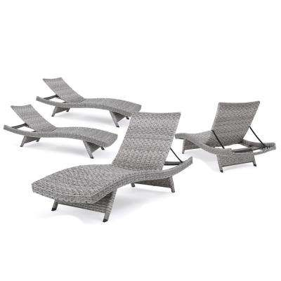Shepard Grey Folding 4-Piece Wicker Outdoor Chaise Lounge