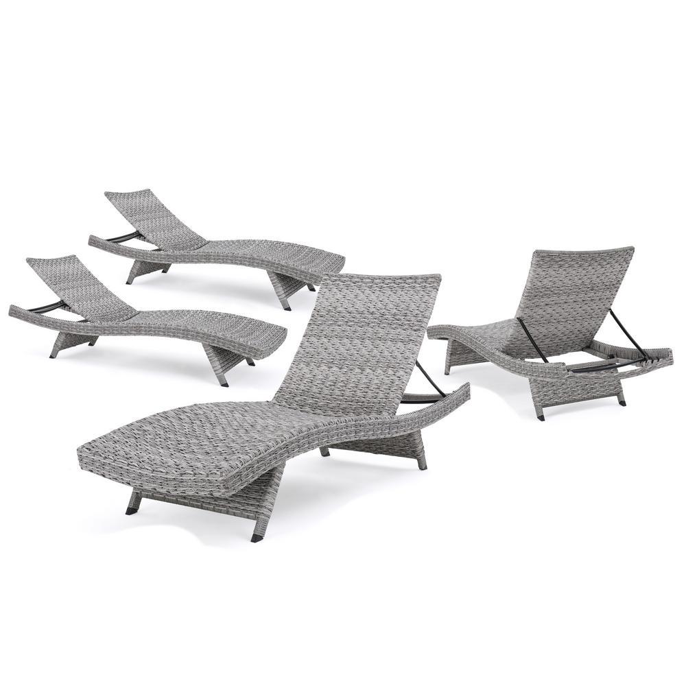 Shepard Grey Folding 4-Piece Wicker Outdoor Chaise Lounge