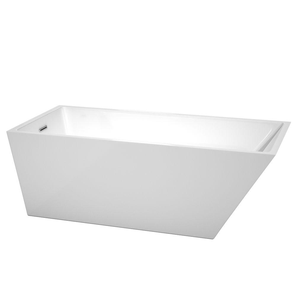 Hannah 67 in. Acrylic Flatbottom Back Drain Soaking Tub in White