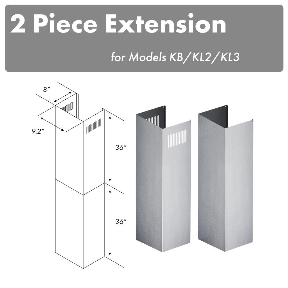 ZLINE Kitchen and Bath 10 ft. to 12 ft. Ceiling Adjustable 2-Piece Chimney Extension Kit