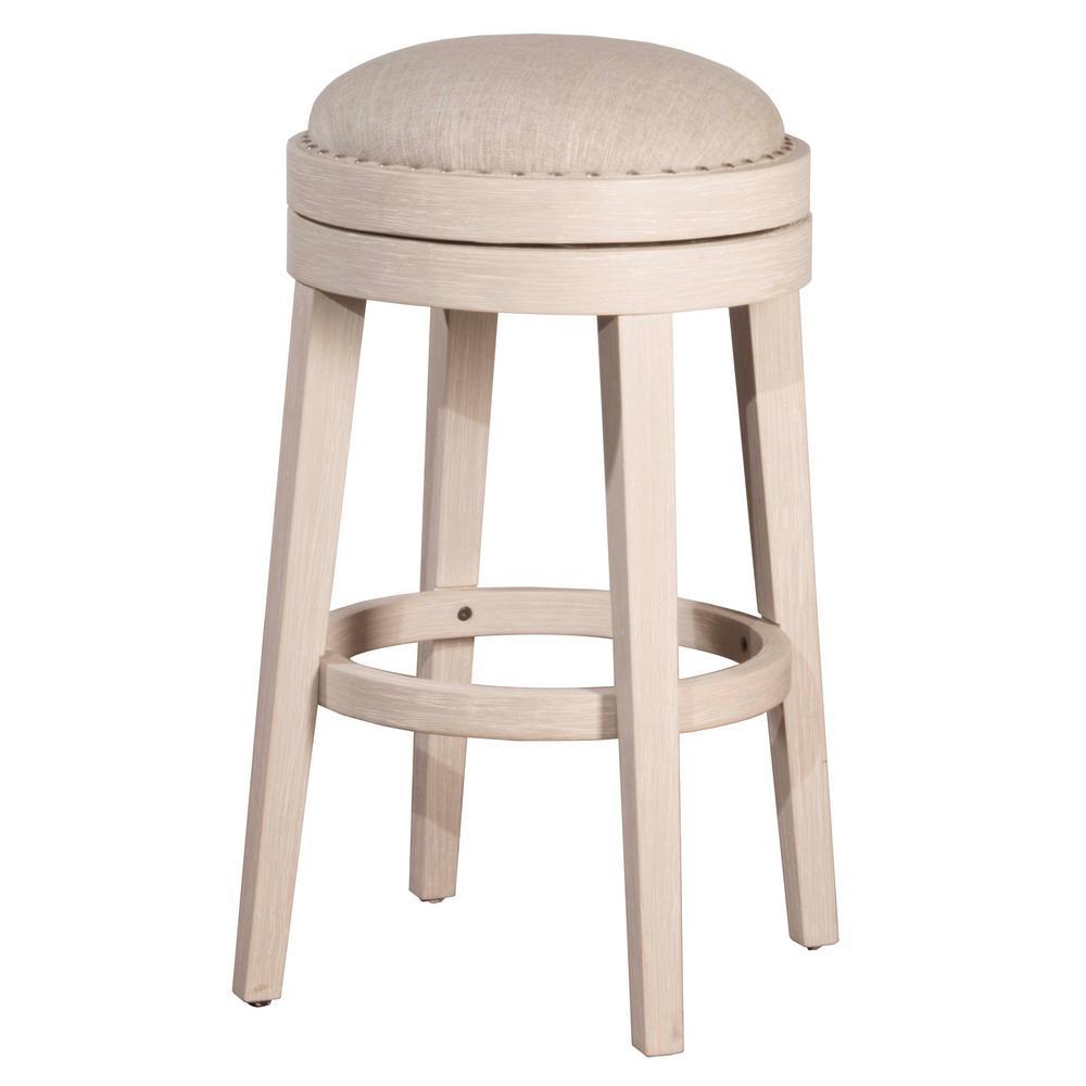 Hilale Furniture Carlito 30 In Weathered White Backless Swivel Bar Stool