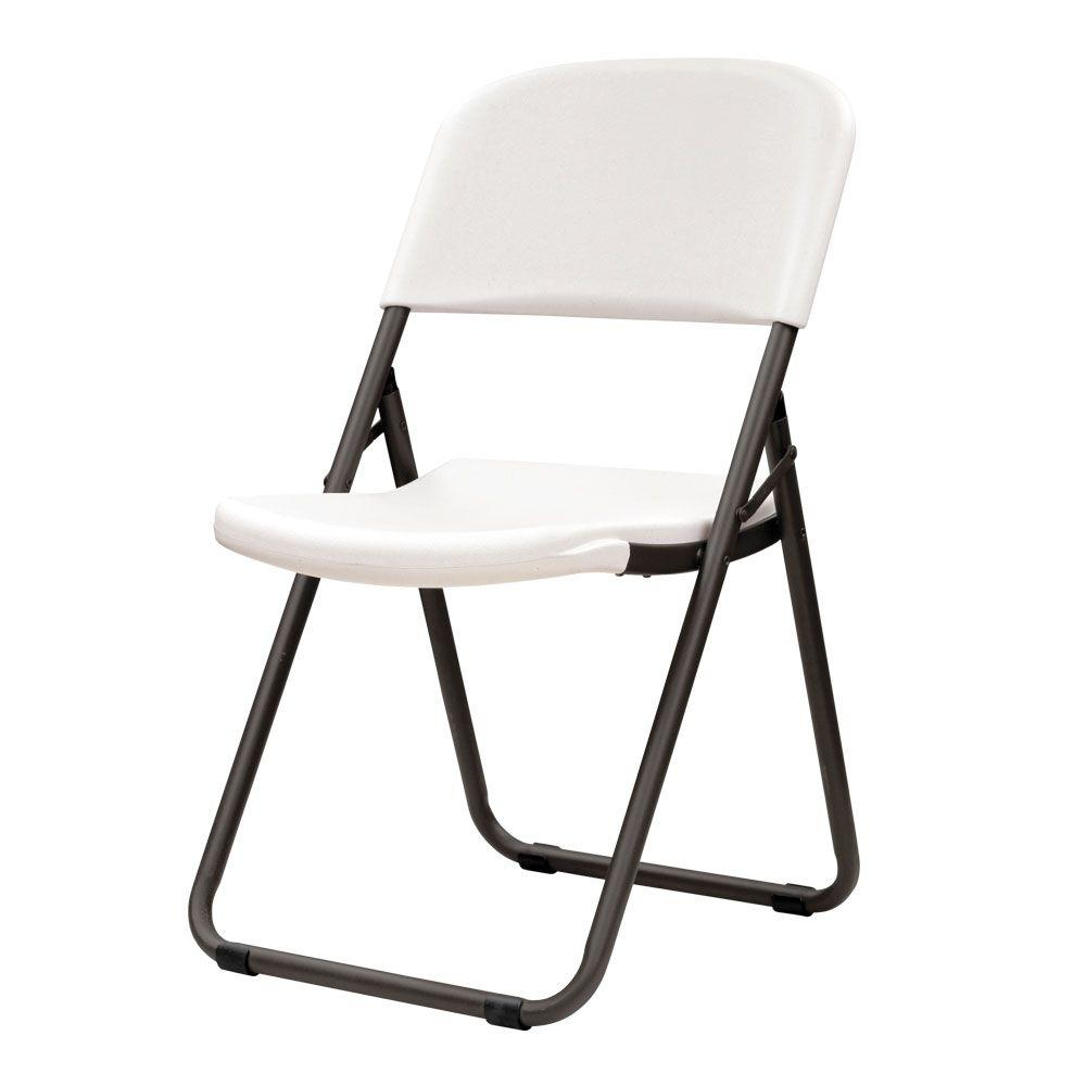 Lifetime White Plastic Seat Metal Frame Outdoor Safe Folding Chair (Set of 4)