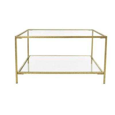 Bella Square Gold Leaf Metal and Glass Coffee Table (34 in. W x 18 in. H)