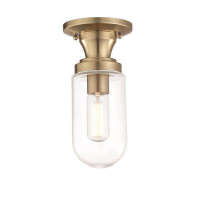 Clara 1-Light Aged Brass Semi-Flush Mount with Clear Glass