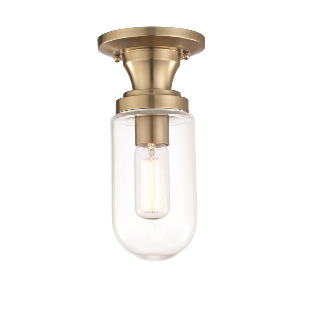 Clara 1-Light Aged Brass Semi-Flushmount with Clear Glass