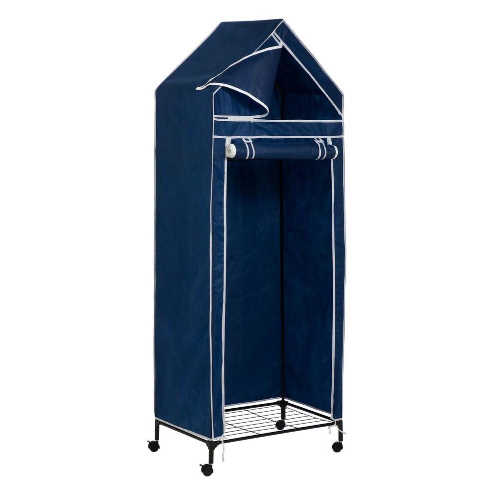 Honey Can Do Portable Covered Closet Rack With Wheels In Blue WRD 01273    The Home Depot