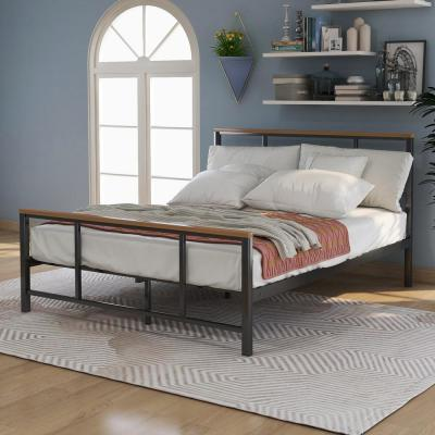 Black Queen Size Metal Platform Bed with Wood Pieces