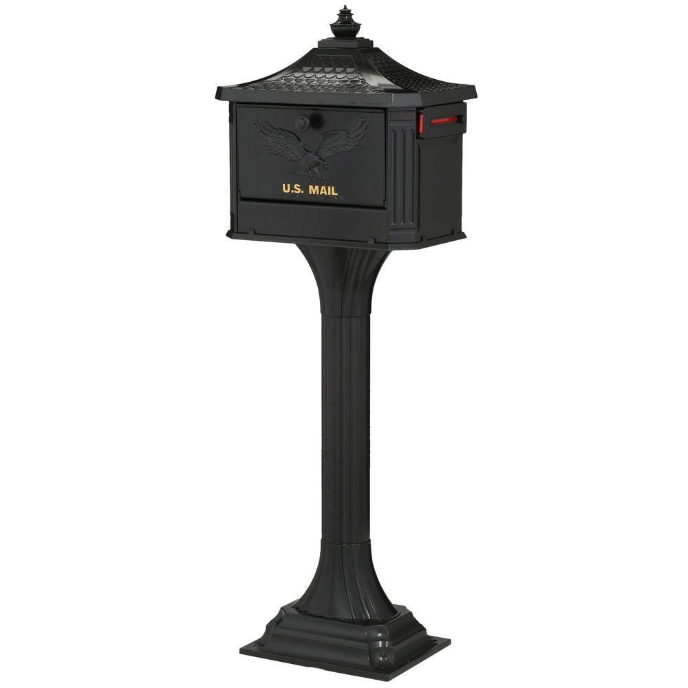 Gibraltar Mailboxes Pedestal Locking Cast Aluminum Mailbox and Post Combo,  Black