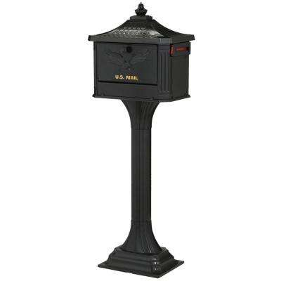 Pedestal Locking Cast Aluminum Mailbox and Post Combo, Black