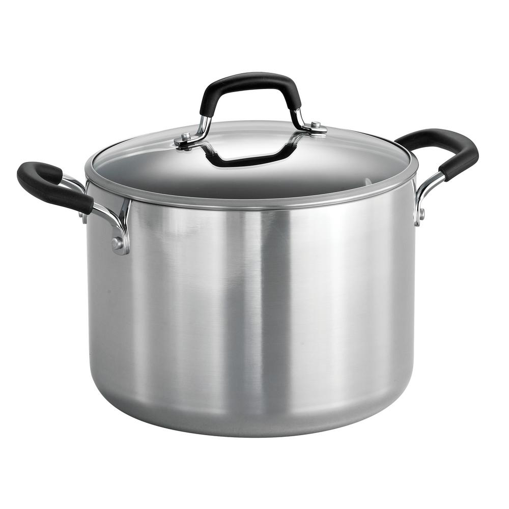 Style Polished Aluminum 8 Qt Covered Stock Pot